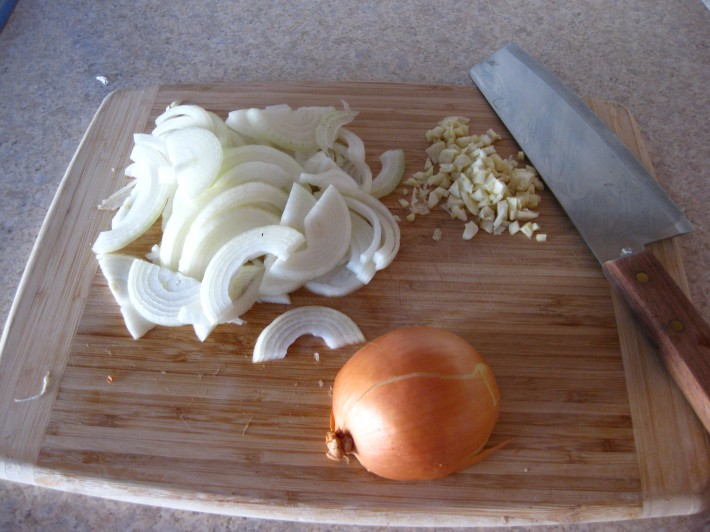 Diced onion and garlic